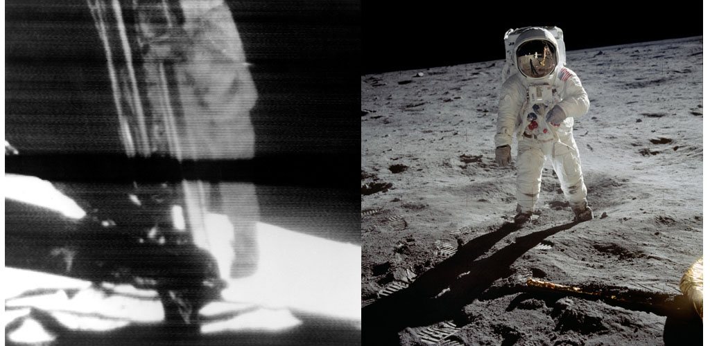 (left) One Small Step for Man, One Giant Step for Mankind. Neil Armstrong exits the Lunar Module Eagle to the surface of the Moon. Armstrong was the first human to ever stand on the lunar surface. July 20, 1969. (right) Apollo 11 Astronaut Edwin Aldrin on the Moon. Neil Armstrong and the Lunar Module are reflected in Aldrin's gold visor.