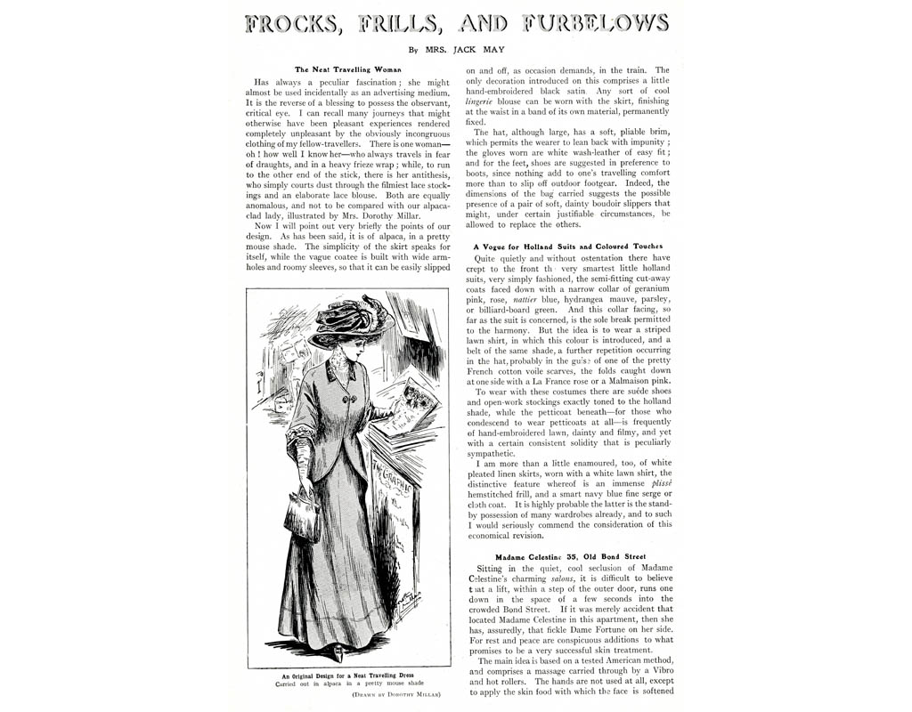 Frocks, Frills and Furbelows by Mrs Jack May. The Neat Travelling Woman. An original design for a neat travelling dress, carried out in alpaca in a pretty mouse shade. 1908. Date: 1908