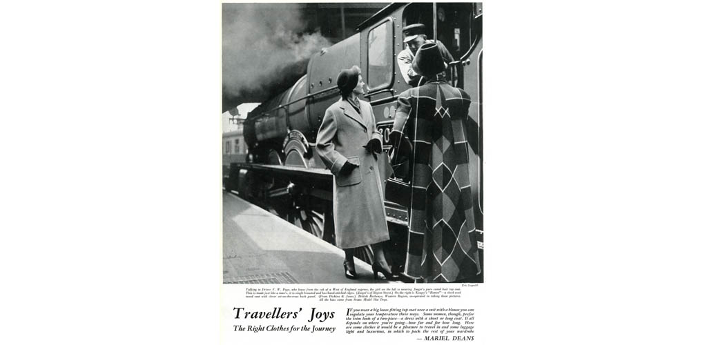Travellers' Joys: the Right Clothes for the Journey. Talking to driver F.W. Page, who leans from the cab of a West of England express, the girl on the left is wearing Jaeger's pure camel hair top coat. On the right is Koupy's 'Romeo', a check wool tweed coat with clever set-on-the-cross back panel. 1950 Date: 1950