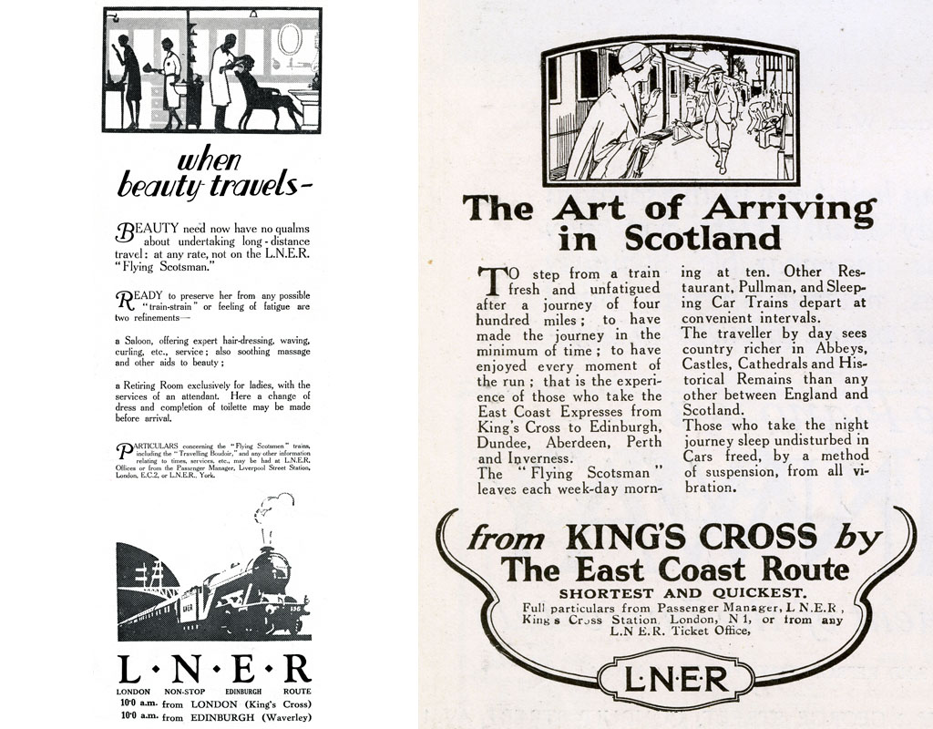 Page from The Bystander, 9th September 1925 featuring adverts for Phyllis Earle hairdressing salons, the millinery department at Marshall & Snelgrove, The Art of Arriving in Scotland from King's Cross by the East Coast Route by L.N.E.R., and Harvey Nichols of Knightsbridge. September 1925