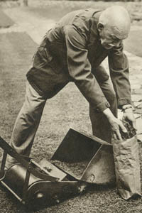 Mr J. R. B. Branson, who advocated a diet of grass to counter food shortages during the Second World War. The Bystander magazine ran a double page spread on him and his views. Picture shows him creating an appetite by mowing the grass and bagging the sweepings ready to take indoors for preparation.      Date: 1939