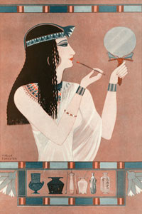Illustration reflecting facts described in Adolph Erman's 'Life in Ancient Egypt' showing an Egyptian woman applying rouge - apparently the Egyptians applied this even to corpses.       Date: 1924
