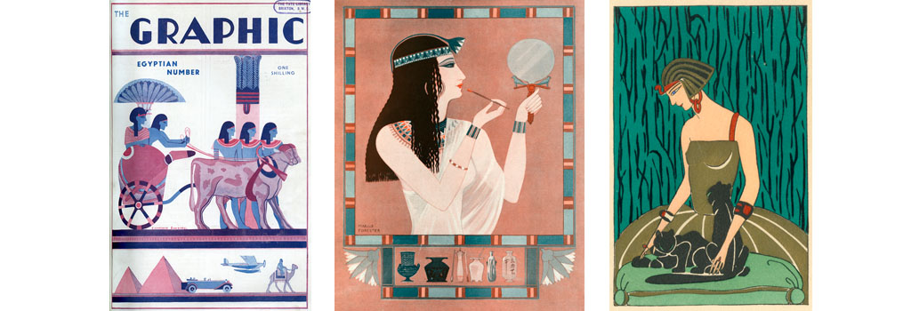 Front cover of The Graphic magazine specially designed in an Egyptian style for its number on the same subject. Date: 1930
