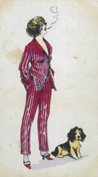 Forward young woman wears a cerise pink & red pyjama suit - the jacket has a roll collar & cuffs & fastens with frogs. She has fur trimmed mules on her feet & a cigarette holder. Date: circa 1918