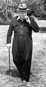 Winston Churchill in his Siren Suit at Chartwell, Kent Date: 11th July 1944