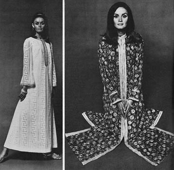 Model on the left wears a white Grecian style kaftan with silver braiding down the front, by Simon Ellis. The silver sequin sandals are from Magli and the gilt bangles is from India Craft. Model on the right wears an exotic black cotton dress lined in silk with silver embroidery in 'Tree of Life' design from Thea Porter. Date: 1966