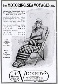 Advertisement for the Vickery's registered silk-covered eiderdown travelling rug with foot muff, ideal for reading on deck when it's a bit chilly! 1928