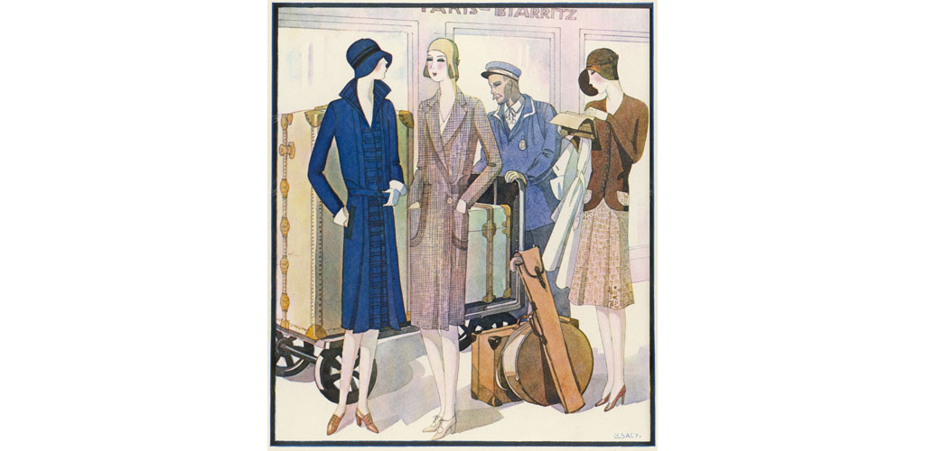 Three ladies are about to set off on a railway journey, while the porter copes with their ample luggage. Date: 1929