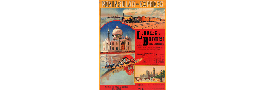 Poster, Peninsular-Express, London to Brindisi. A special train service calling at Dover, Calais, Pierrefitte, Villeneuve, Mont Cenis, Modane, Turin, Bologna, and Brindisi. Date: 20th century