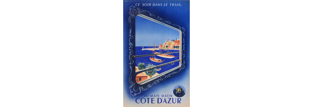 Poster, Cote d'Azur, South of France, by overnight train. Date: circa 1930s