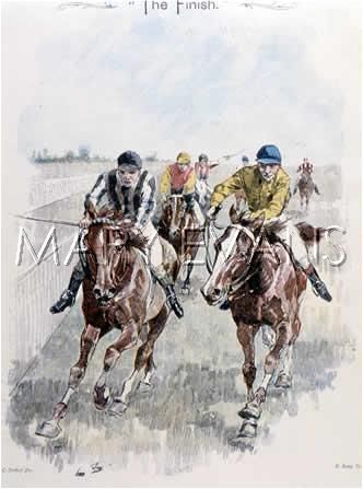 Mary Evans Picture No 10138153 -  Two jockeys and their mounts battle it out to the winning post.