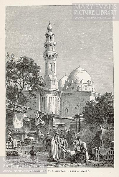 Mary Evans Picture No 10191500 - Street traders surround the mosque of Sultan Hassan, hoping to entice the faithful on their way to and from their devotions.