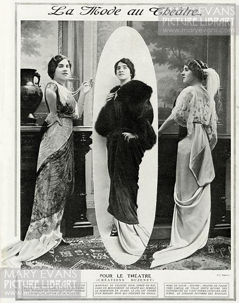 Mary Evans Picture No 11356536 - French models wearing clothing for the theatre, creations by Buzenet. (left), White charmeuse dress with black overlay intricate lace and train. (middle), Black velvet cloak with fur trim sleeves and black fox shawl. (right), Satin dress draped in very simple way with lace.