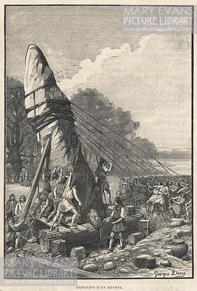 Mary Evans Picture No 10039945 - The erection of a menhir in prehistoric France