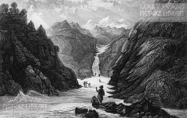 Mary Evans Picture No 10214104 - The source of the Yamuna (Jumna) river in the Himalayas ; it will eventually flow into the Ganges.