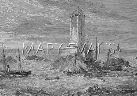 Mary Evans Picture No 10050645 -  The PHARE DES TRIAGOS, on the Triagos rocks, in a dangerous location some 25 km offshore - this engraving shows the construction almost completed