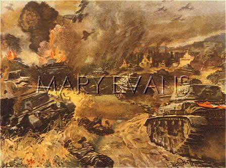 Mary Evans Picture No 10084486 - German panzer attack : tanks advance with air support from Stuka dive-bombers