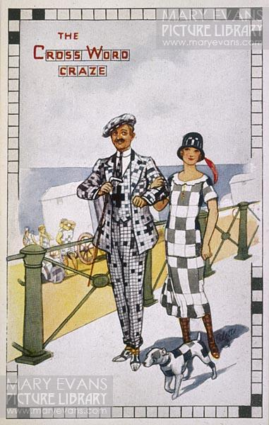 Mary Evans Picture No 10106440 - A dashing couple display the growing 'crossword craze' with their checked attire and similarly squared-off small dog!