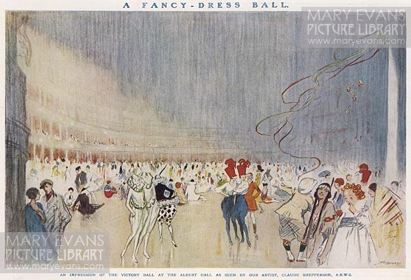 Mary Evans Picture No 10235050 - An artist's impression of the Victory Ball at the Royal Albert Hall, celebrating the Allied victory at the end of World War One.