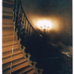 Figures photographed on the Tulip Staircase of the Queen's House, though photographer saw nothing ; during normal opening hours of the Museum      Date: 19 June 1966
