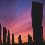 Sunset over the ancient  standing stones of Callanish  Stone Circle, Isle of Lewis,  outer Hebrides, Scotland.       Date: 1980