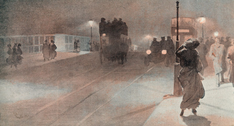 Vauxhall Bridge on a foggy  evening        Date: 1907