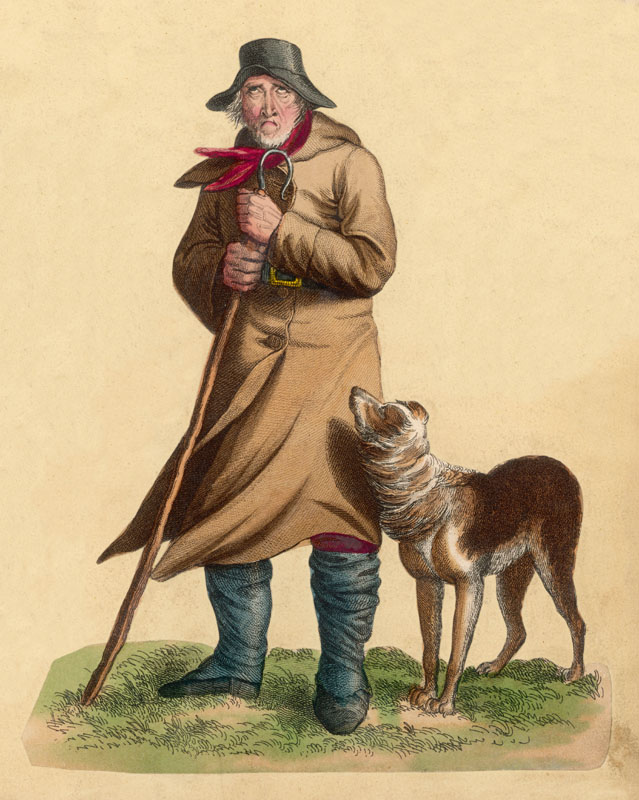 An old shepherd looking  thoroughly dejected as he  stands in the cold with his  sheepdog       Date: mid 19th century