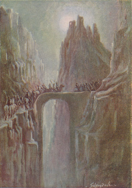 Bifrost - a burning rainbow bridge that reaches between Midgard (the world) and Asgard (the realm of the gods) in Norse mythology.  1916