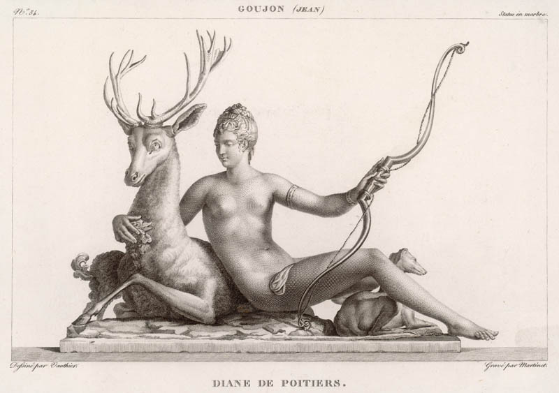 Diane de Poitiers (1499-1566), wife of Louis, Comte de  Maulevrier, and after his death mistress of the Dauphin, later Henri II. Seen here portrayed as the hunting goddess Diana with a stag.   16th century