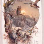 Two owls in the moonlight on a Christmas card, with a quotation from Shakespeare (Love's Labour's Lost).      Date: circa 1890s