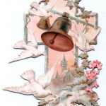 White doves and church bells on a cross-shaped Easter card.      Date: circa 1890s