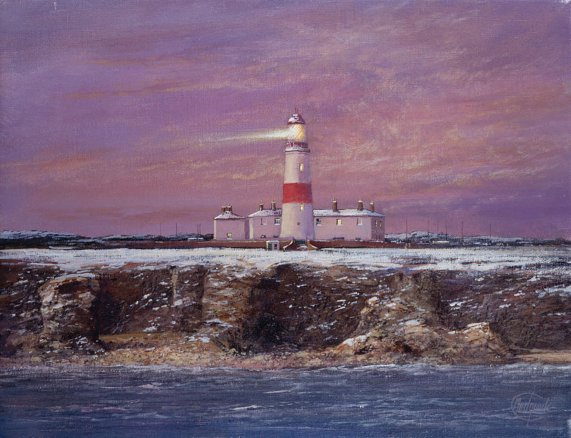 'Souter Lighthouse'  winter scene with white and red lighthouse, and a red sky.   2002