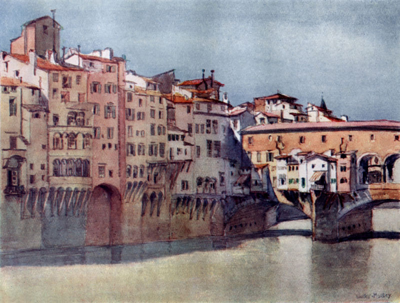 Italy - Florence - Ponte Vecchio and the back of the Via de' Barbi.     Date: 1912