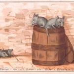 Four rats and a barrel on a Christmas card.      Date: circa 1890s