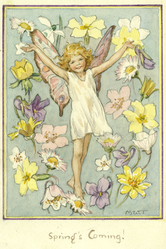 'Spring's Coming' - fairy with outstretched arms and flowers around.     Date: circa 1920s