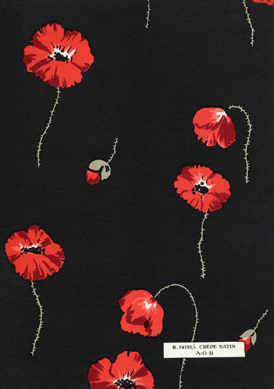 Fabric design for a satin crepe poppy flowered print in red, grey and black on a black background, Art Gout Beaute, 1929.      Date: 1929