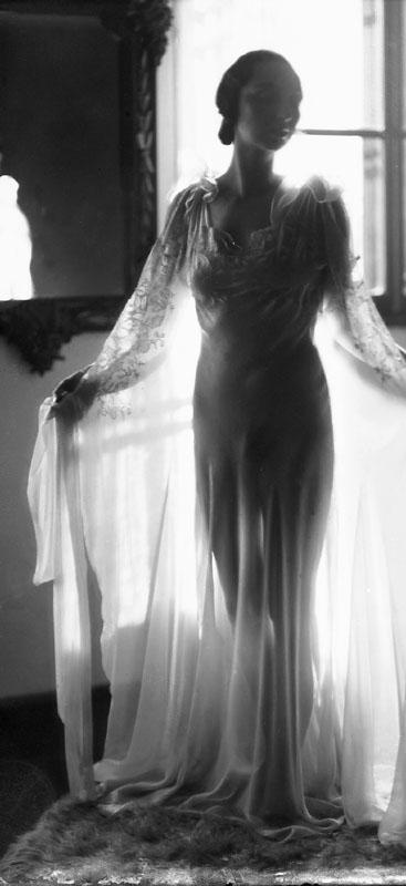 Mrs Blasig in a nightgown.   circa 1940
