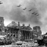 A picture by Soviet photographer Yevgeny Khaldei  shows the destroyed Reichstag in Berlin in April 1945.    April 1945
