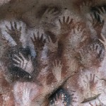Cave of the Hands, Santa Cruz, Argentina -- detail of the paintings.   circa 7300 BCE