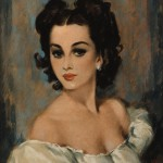Original painting by pin-up artist David Wright of a beautiful, dark-eyed brunette wearing an off-the-shoulder blouse.    circa 1950