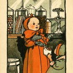 The Sweet Shop. A young toddler hands her friend a selection of sweets chosen from the tall glass jars in the shop window.  1902