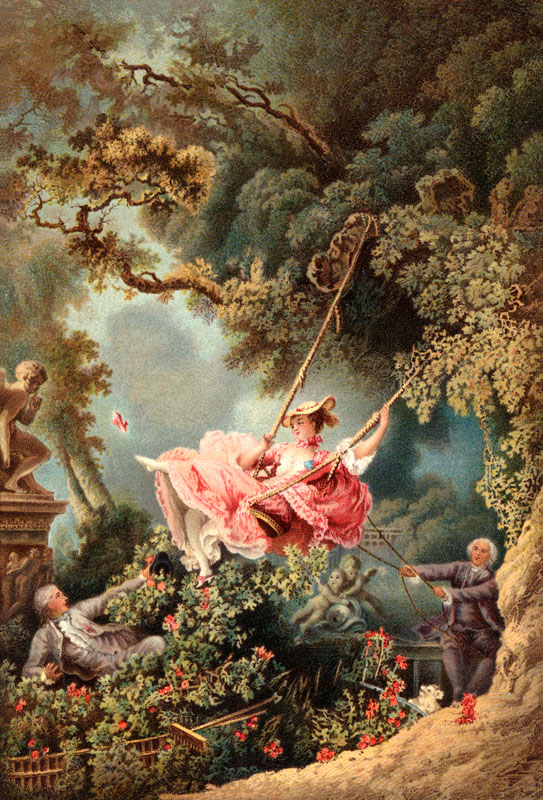 The Swing by French Painter of Rococo Manner Jean-Honore Fragonard Lover Looking up Dress of Mistress On Swing     Date: 1767