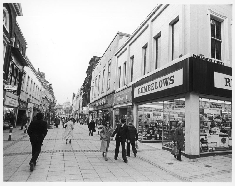 A typical late 20th century pedestrianised shopping street in Hull, Yorkshire, England, on the corner of Parliament Street.   late 1970s