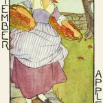 A farm girl returning with baskets of apples represents the month of harvest time. Artist: Rie Cramer     Date: circa 1926