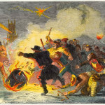 Rolling a tar barrel on  November 5th at Brighton         Date: 1853