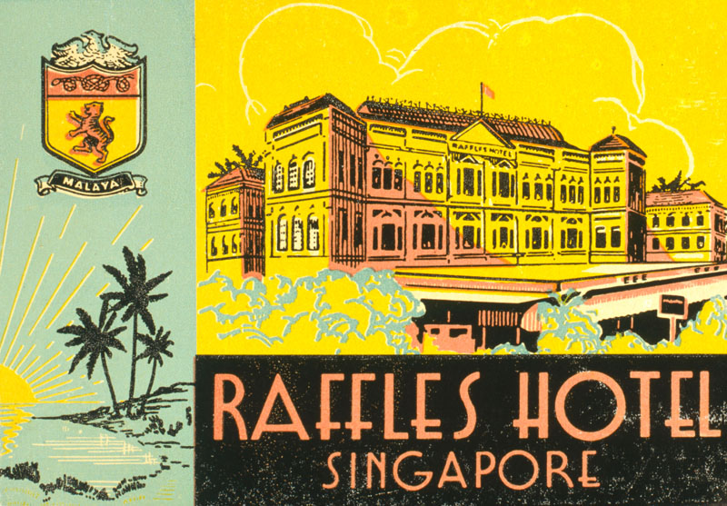 Label design for Raffles Hotel, Singapore.     Date: circa 1930s