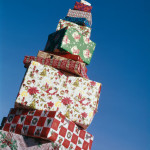 1960s TALL PILE CHRISTMAS PRESENTS  GIFT WRAPPED