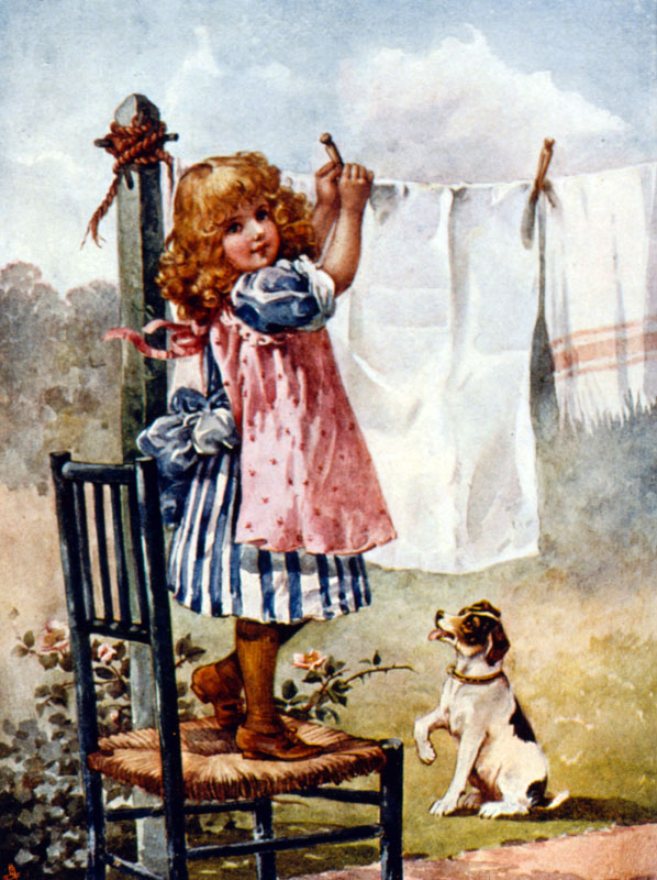 Little girl hanging out the washing, watched by a dog.   circa 1890