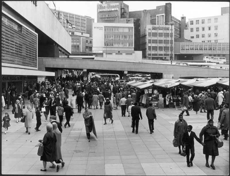 A busy scene in the shopping  area of the Bull Ring complex,  Birmingham, England, in May 1966.     1966