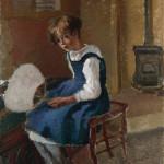 Jeanne holding a Fan, by Camille Pissarro.   1863